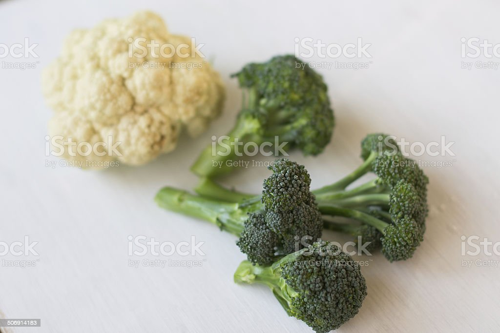Broccoli and cauliflower royalty-free stock photo