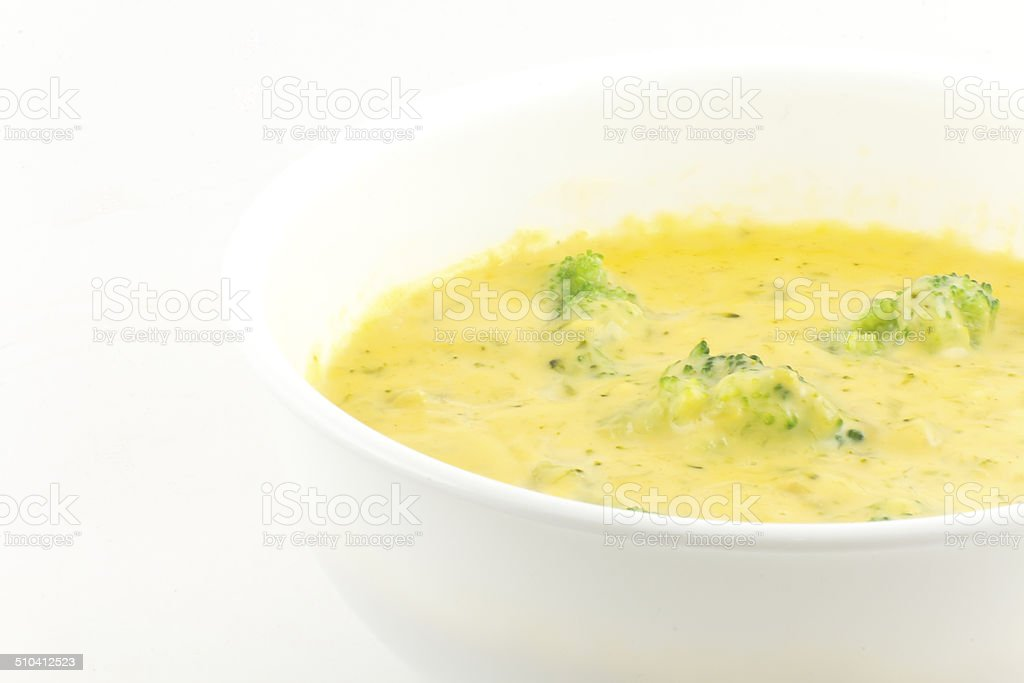 Broccoli and Cheddar Cheese Soup stock photo