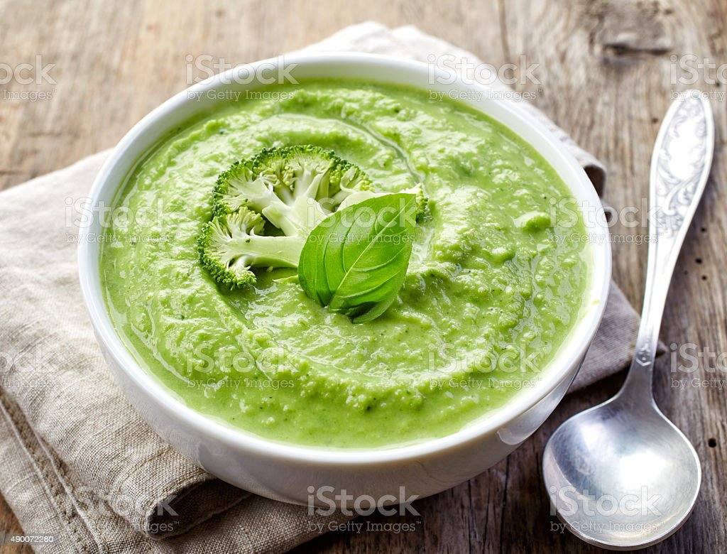 broccoli and green peas soup stock photo