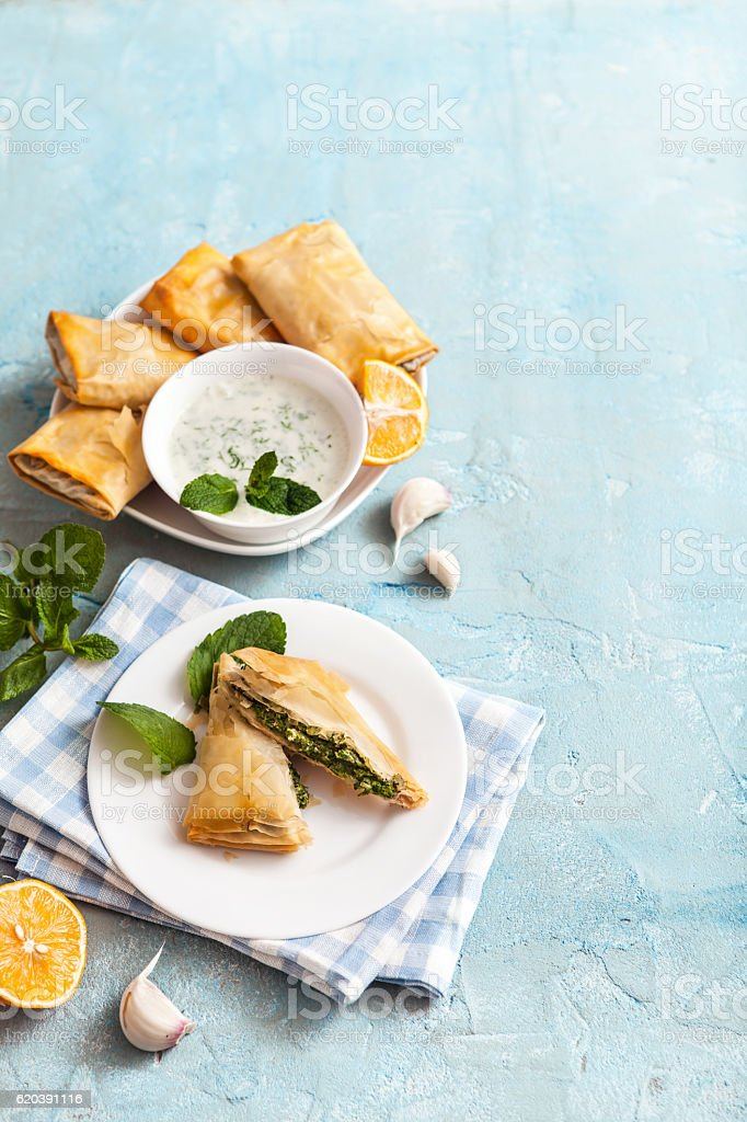 broccoli and spinach Spanakopita stock photo