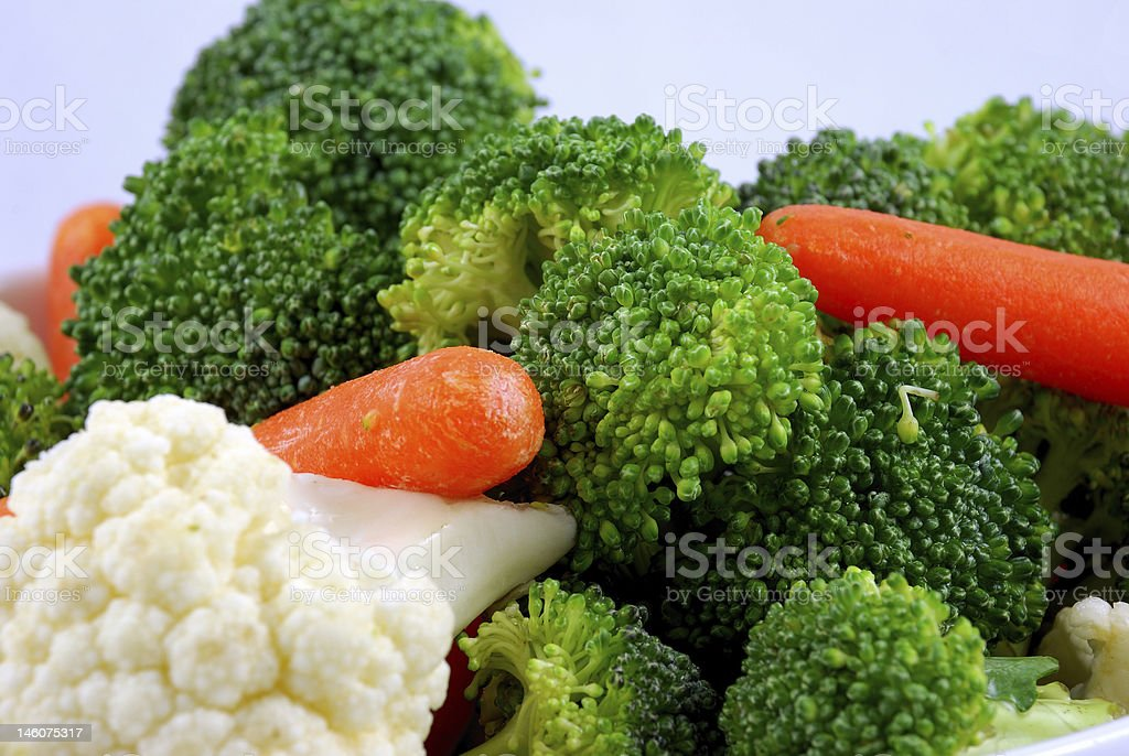 Broccoli, baby carrots and cauliflower royalty-free stock photo