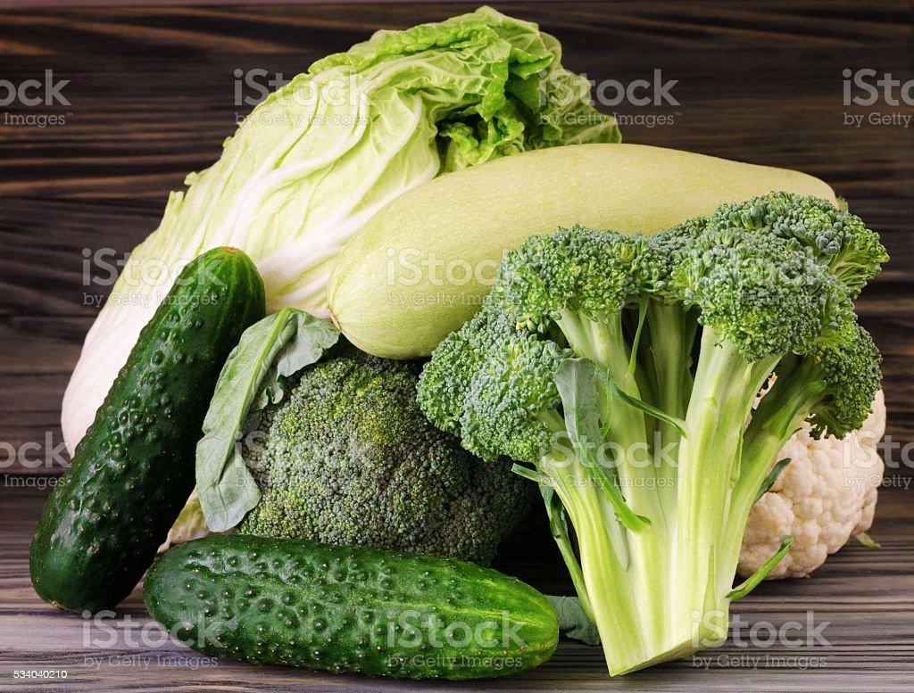 Broccoli, cauliflower and cabbage stock photo