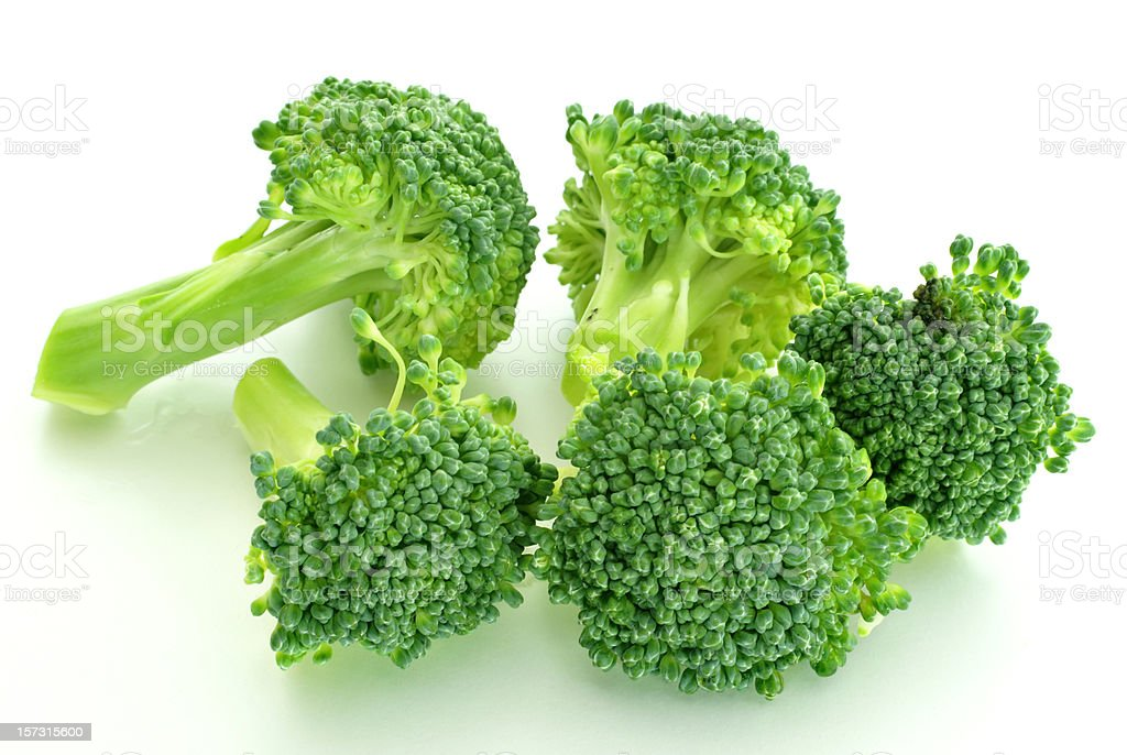 broccoli florets on white background royalty-free stock photo