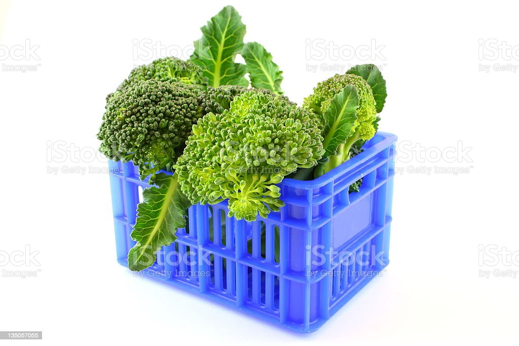 Broccoli in blue case royalty-free stock photo