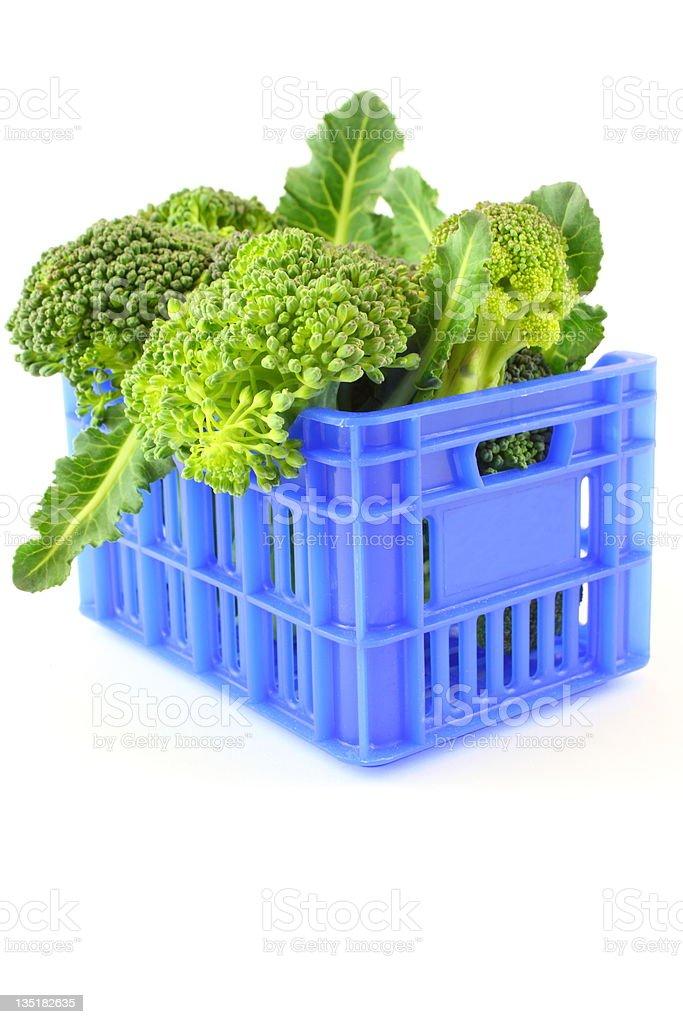 Broccoli in blue case stock photo