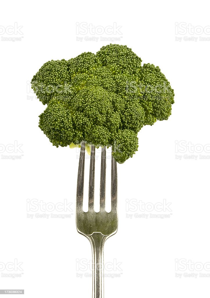 Broccoli On A Fork royalty-free stock photo