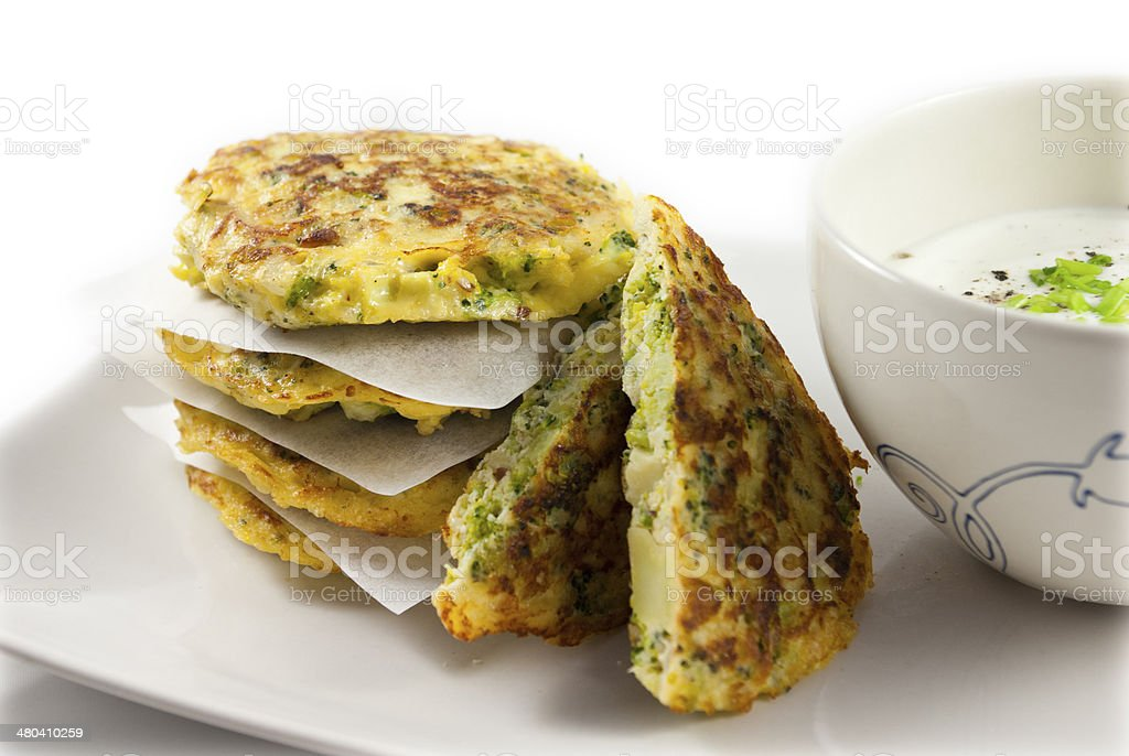 Broccoli pancake stock photo
