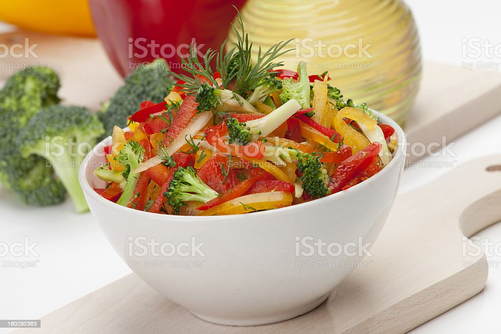 broccoli, red, yellow and orange sweet pepper salad royalty-free stock photo
