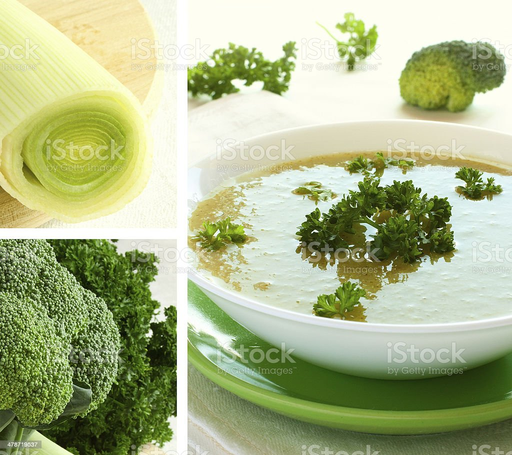 Broccoli soup with parsley and onion. Collage. stock photo