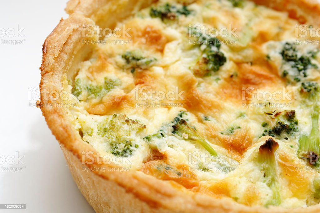 Broccoli vegetable quiche flan close up stock photo