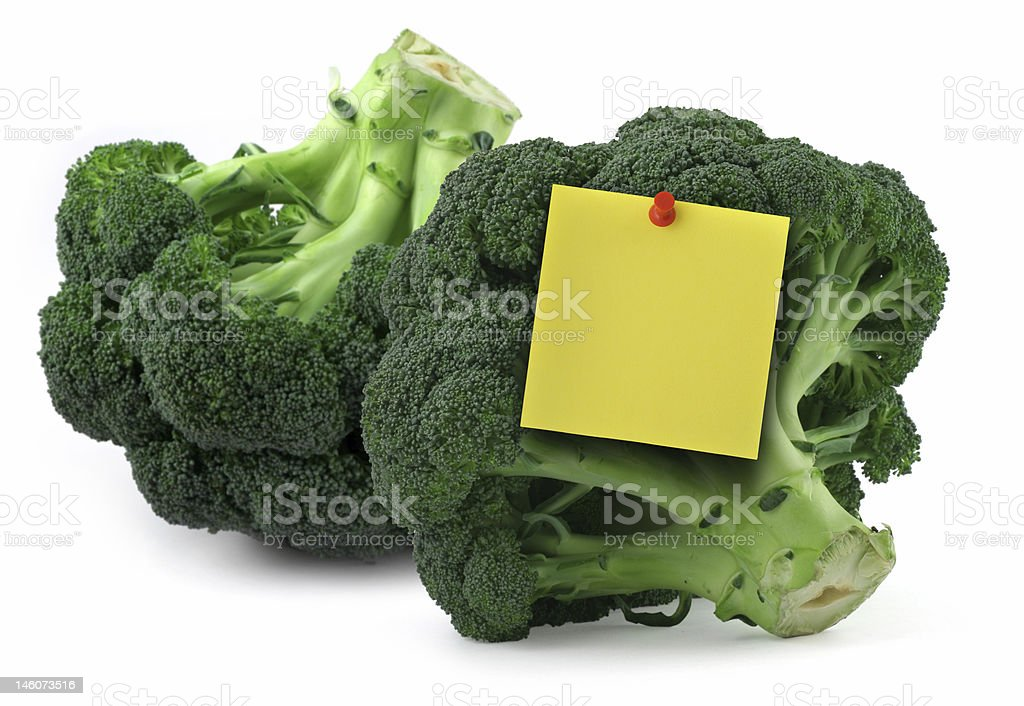 broccoli with blank yellow note royalty-free stock photo
