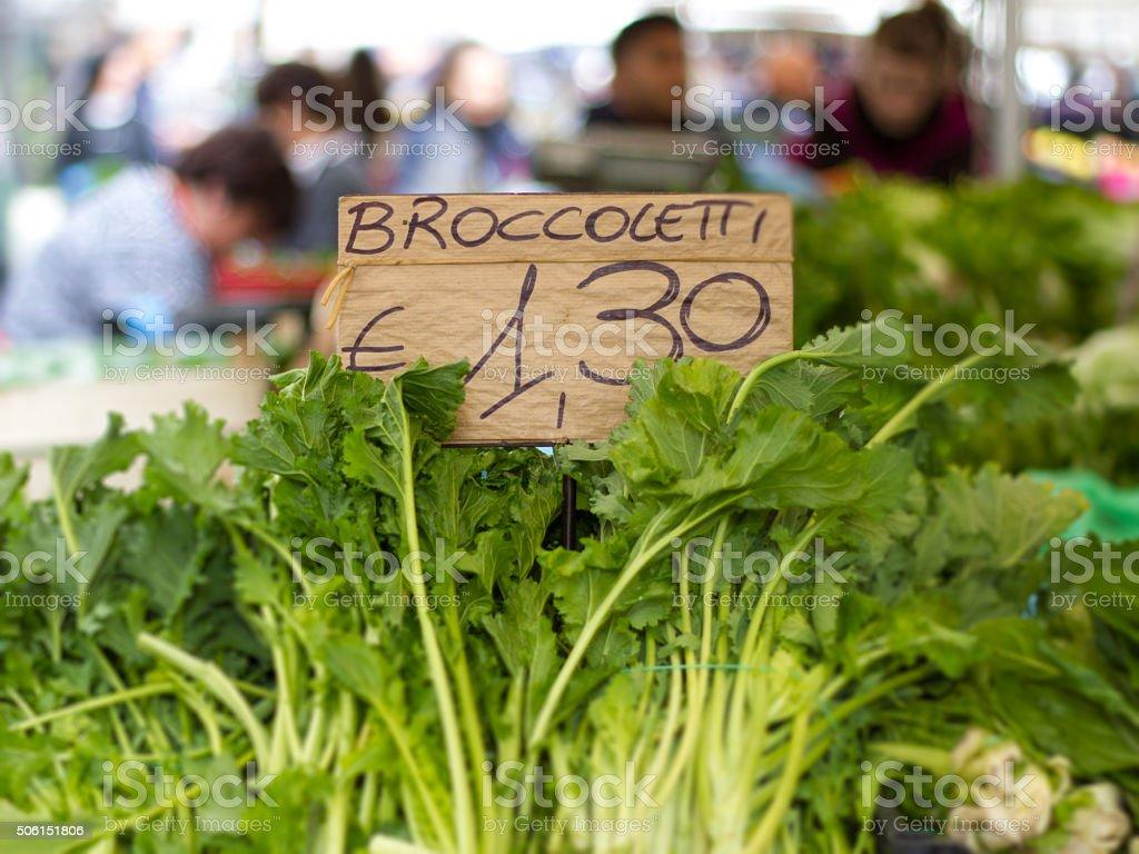 Broccolietti/Broccoli Rabe at Market in Italy (Close-Up) stock photo