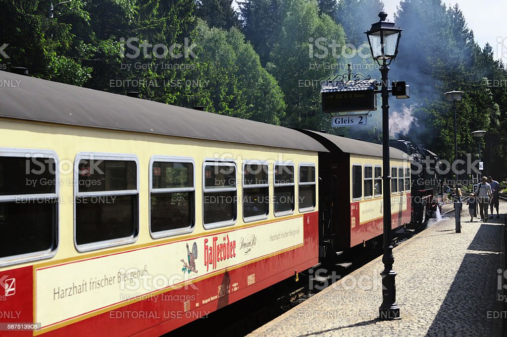 Brocken Railway Steam locomotive waiting a Schierke stock photo