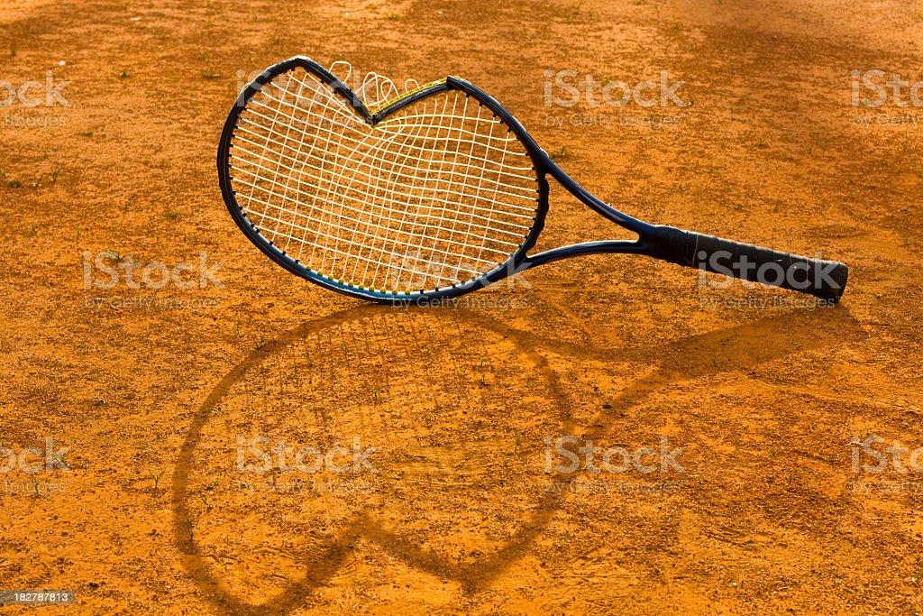 Brocken tennis racket stock photo