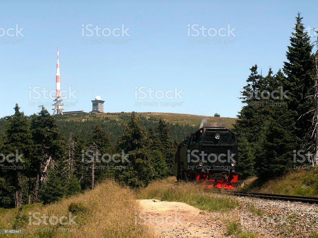 Brocken-Gipfel im Harz und Brockenbahn (Hsb Harzer Schmalspurbahnen) stock photo