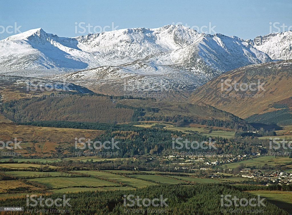 Brodick and Arran Mountains Isle of Arran stock photo