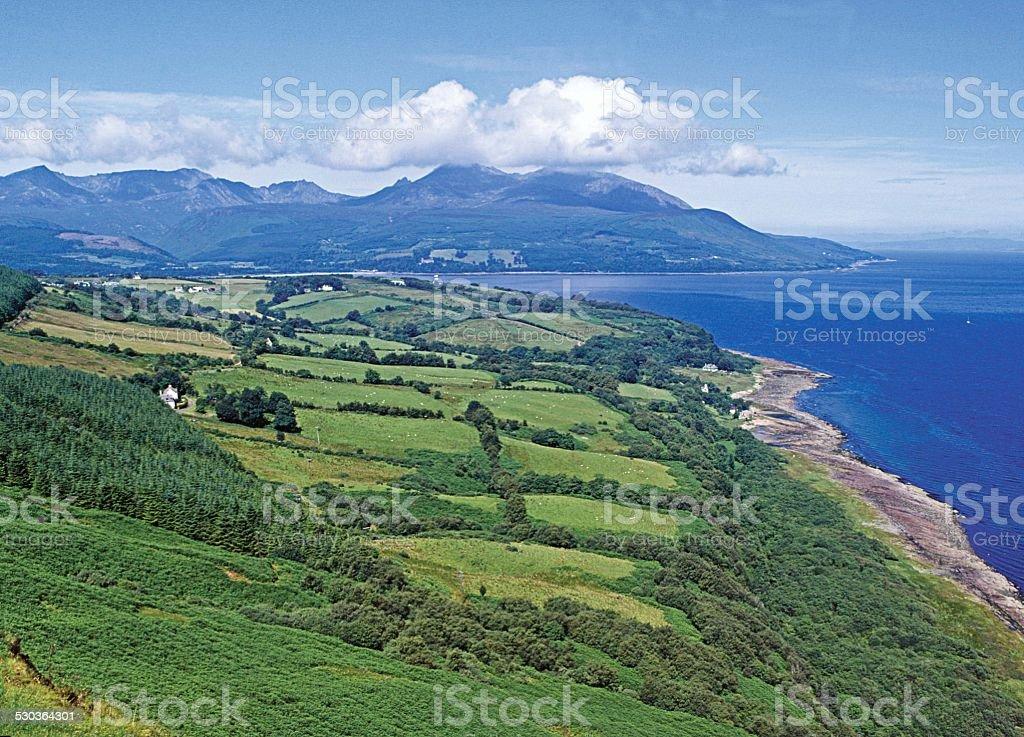 Brodick Bay and mountains of Arran Scotland stock photo