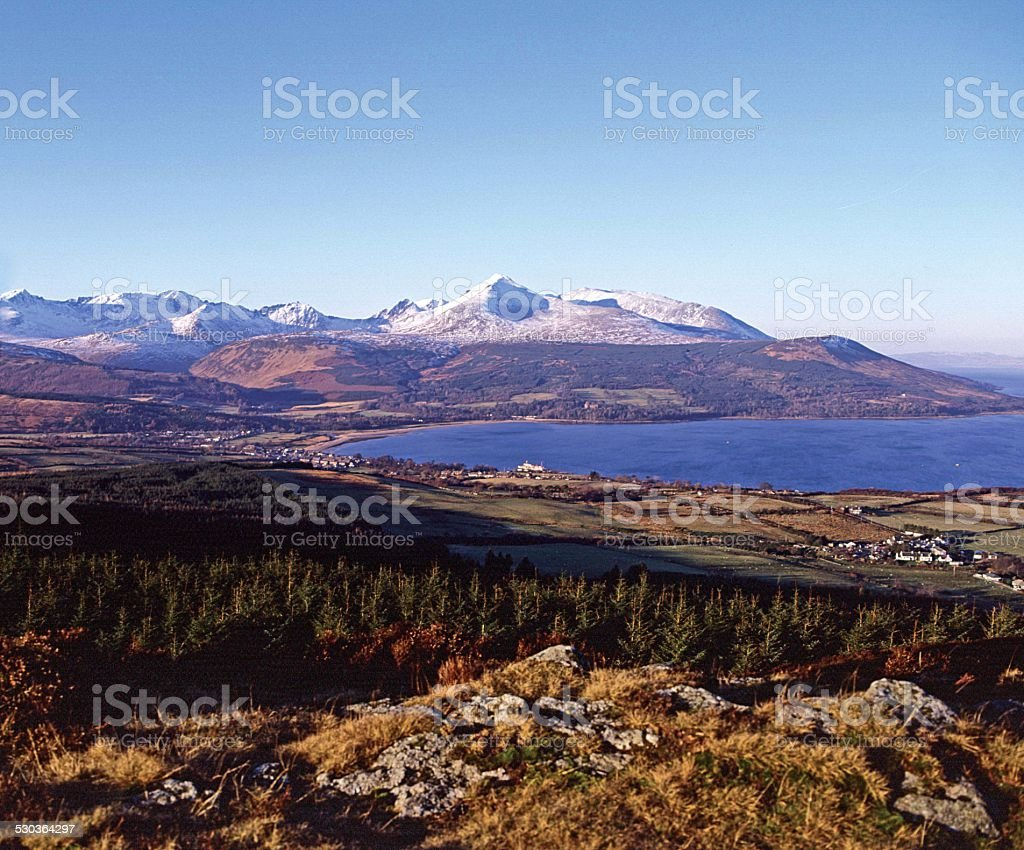 Brodick Bay and Mountains of Isle of Arran stock photo