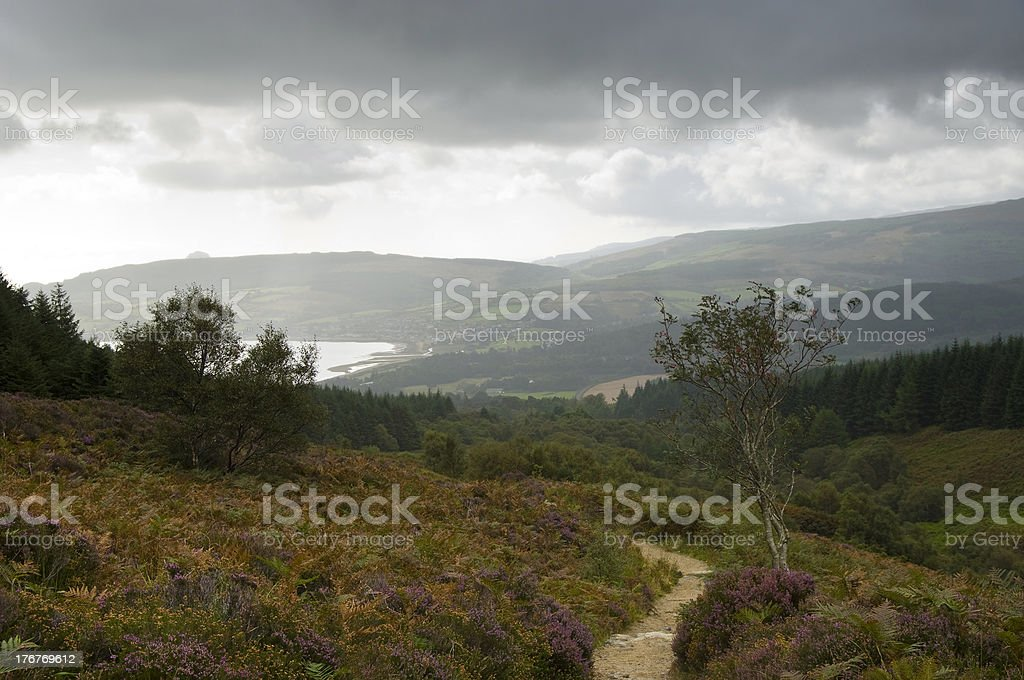 Brodick Bay from Goat Fell stock photo