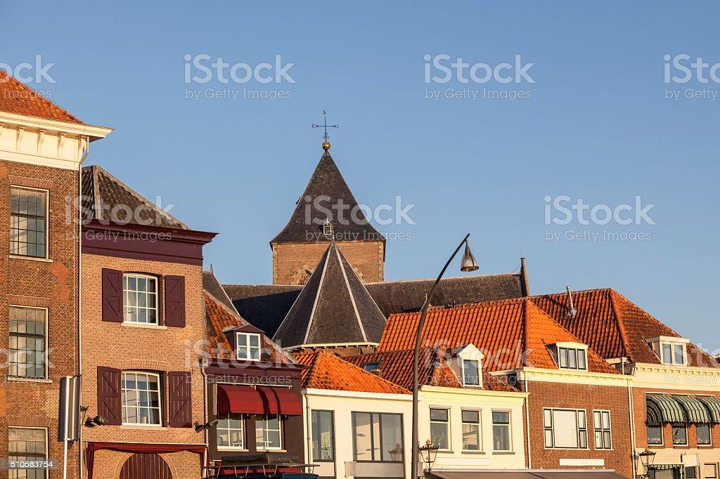 Broeder Kerk and Dutch houses in Kampen, Netherlands stock photo