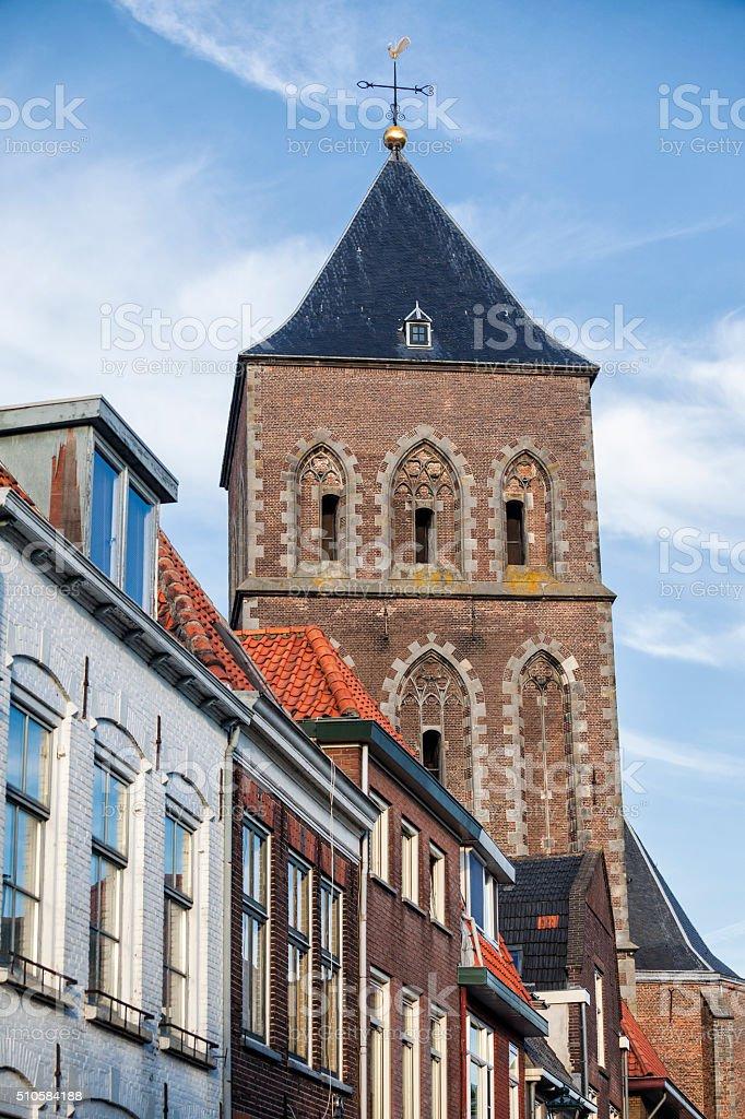 Broeder Kerk and Dutch houses in town of Kampen, Netherlands stock photo