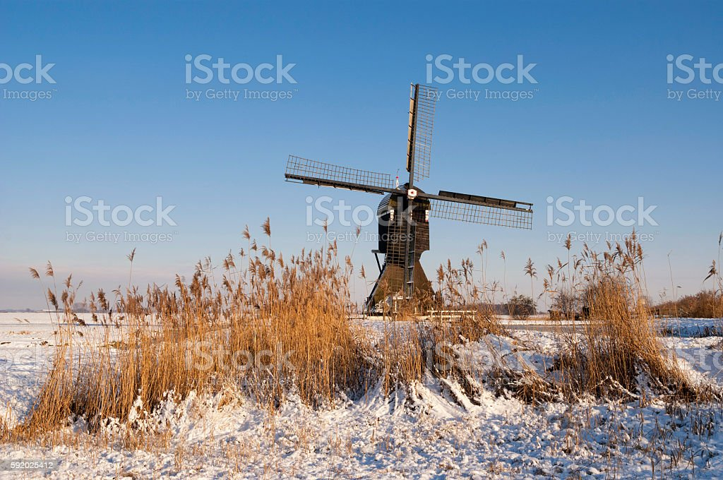 Broekmolen windmill near Streefkerk stock photo