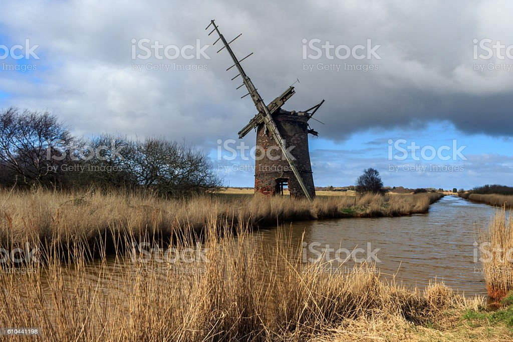 Brograve mill windpump stock photo