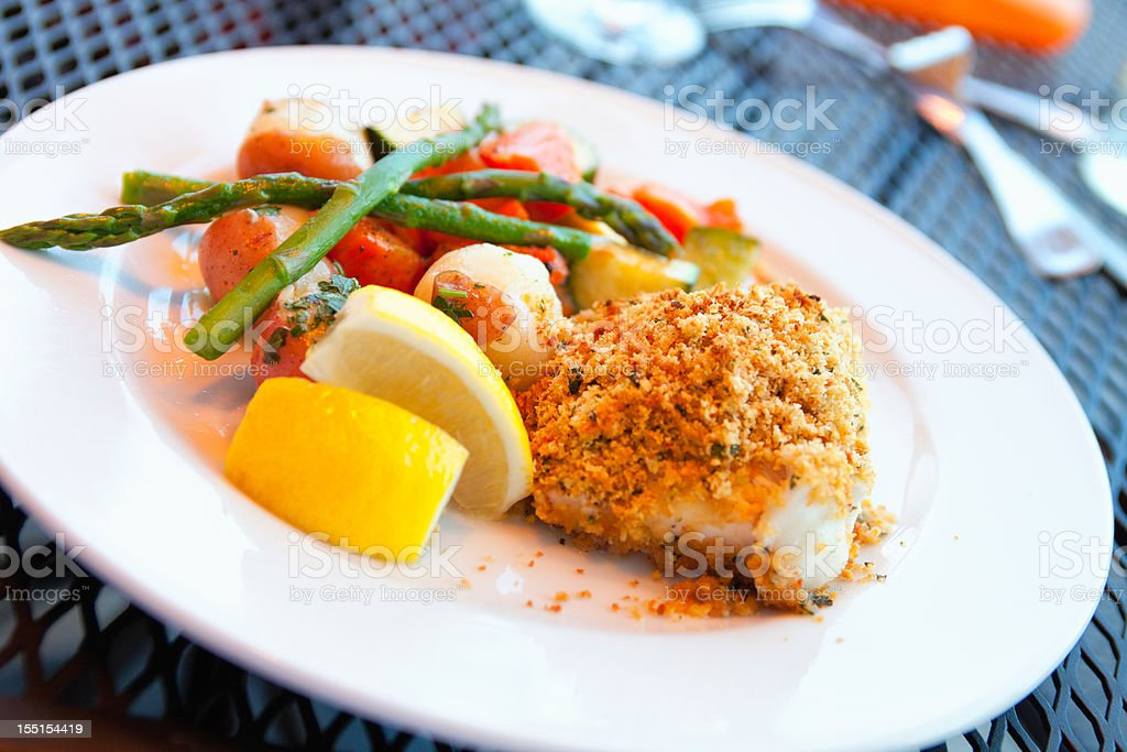 Broiled breaded New England Scrod stock photo