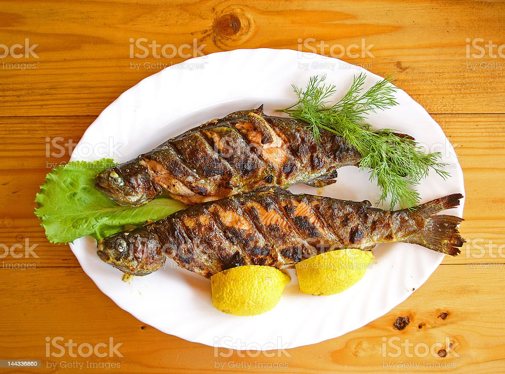 Broiled fish royalty-free stock photo