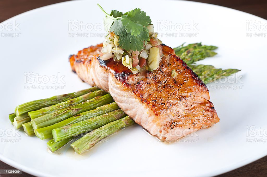 Broiled Salmon stock photo