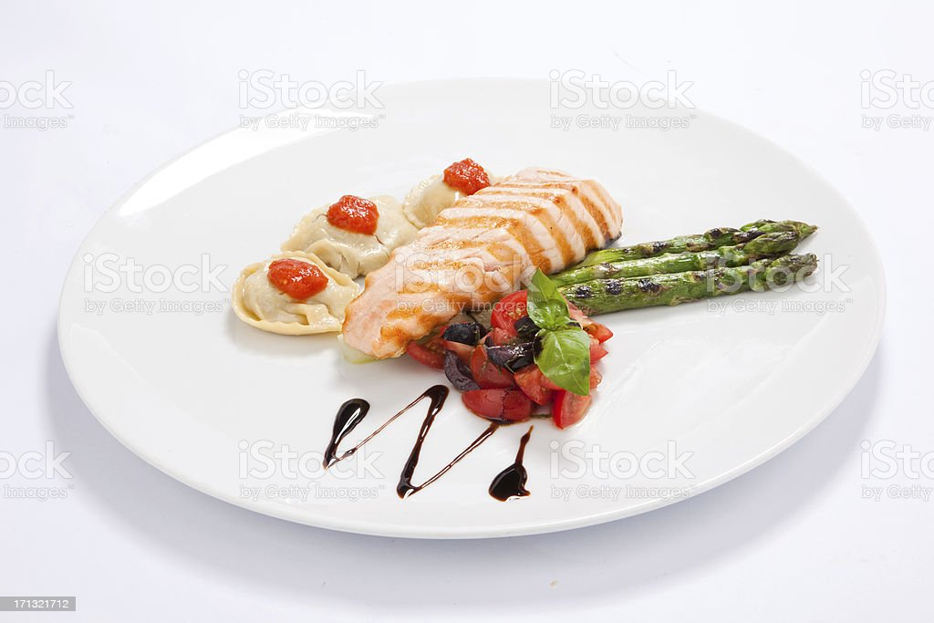 Broiled salmon royalty-free stock photo