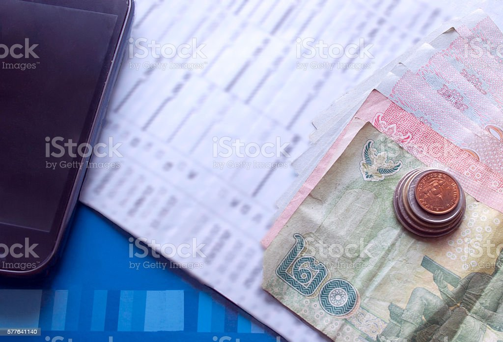 Broke concept, Account balance mobile connext, coins, banknote, and passbook. stock photo