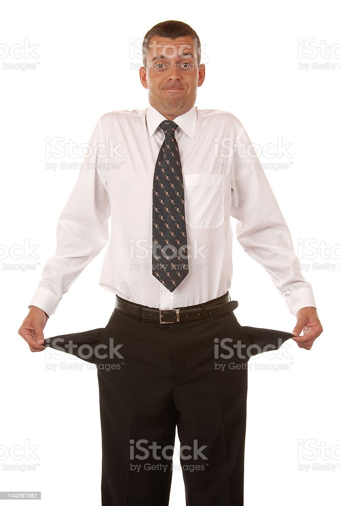 Broke funny young businessman royalty-free stock photo