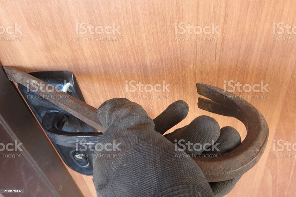 Broke through the house stock photo