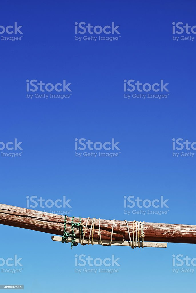 broken and repaired mast of a ship stock photo
