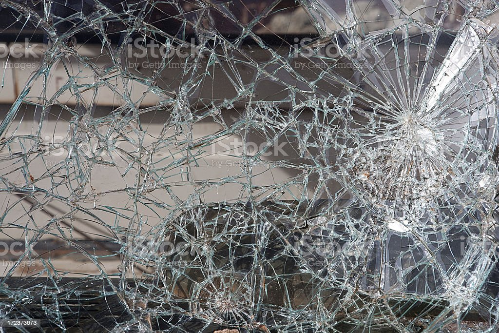 Broken Autoglass Glass accident cracks fractures windshield car royalty-free stock photo