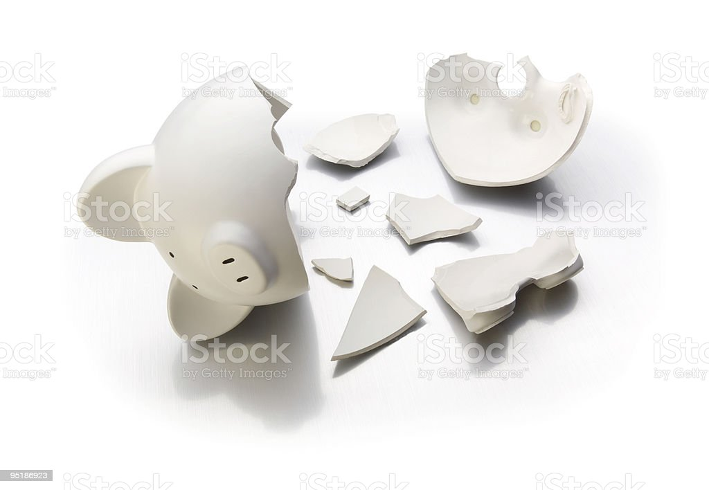 Broken bank on white royalty-free stock photo