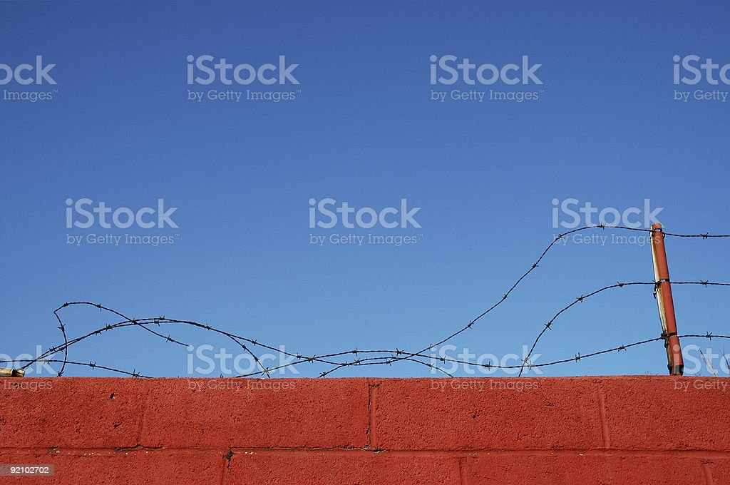 Broken Barbed Wire stock photo