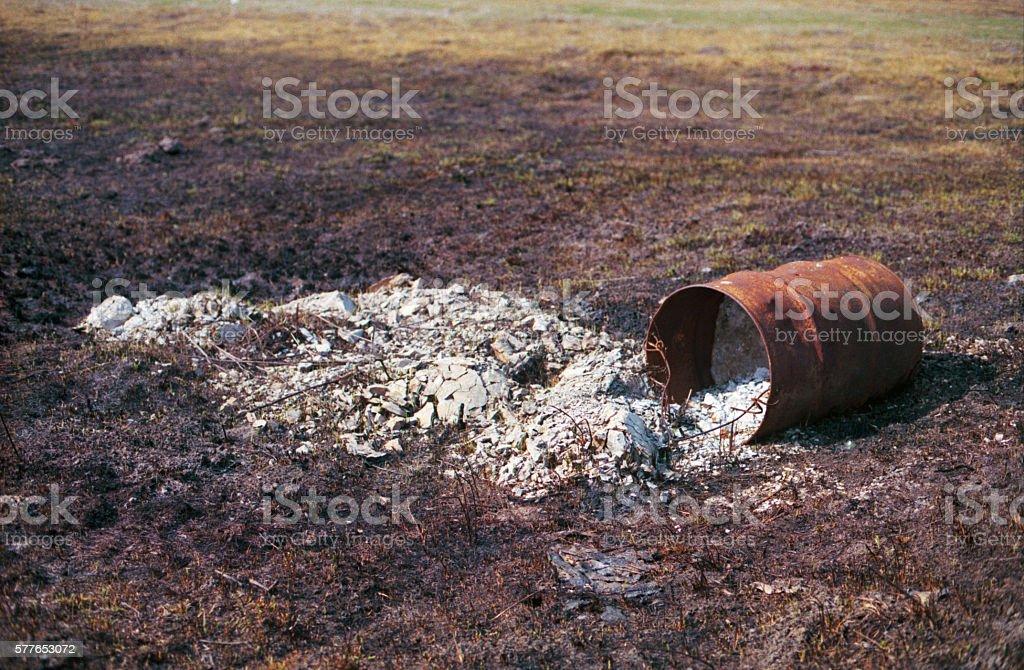 Broken barrel with toxins stock photo