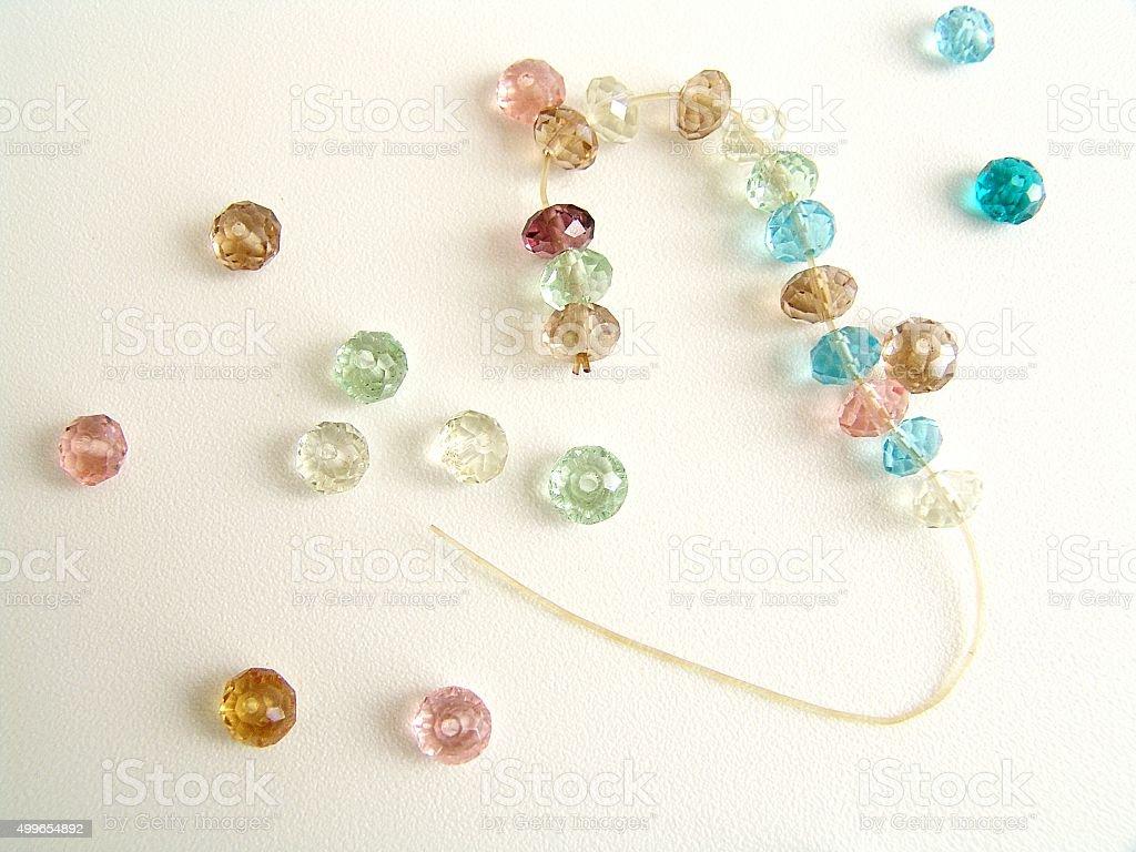Broken bead bracelet stock photo