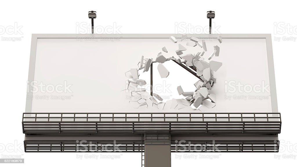 Broken Billboard isolated on white background stock photo