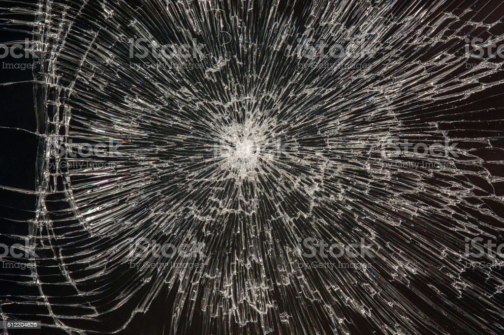Broken black glass stock photo