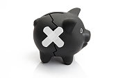 Broken Black Piggy Bank