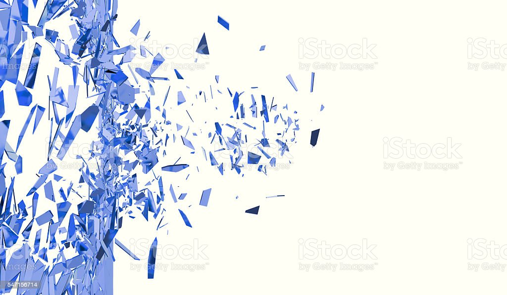 Broken blue wall isolated on white background. 3d illustration stock photo
