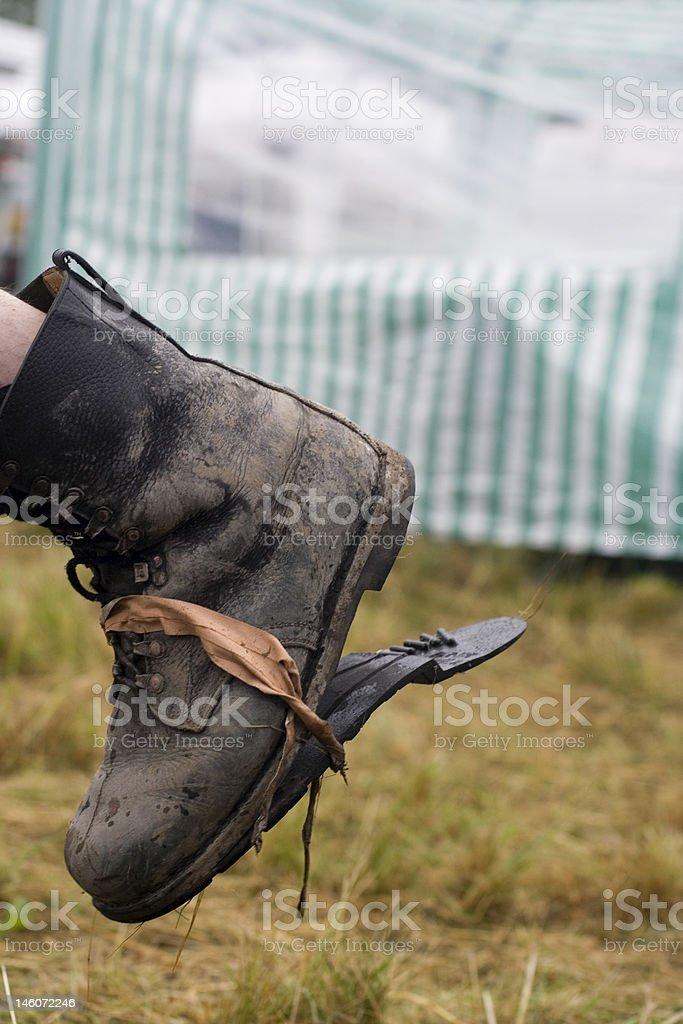 broken boot sole stock photo