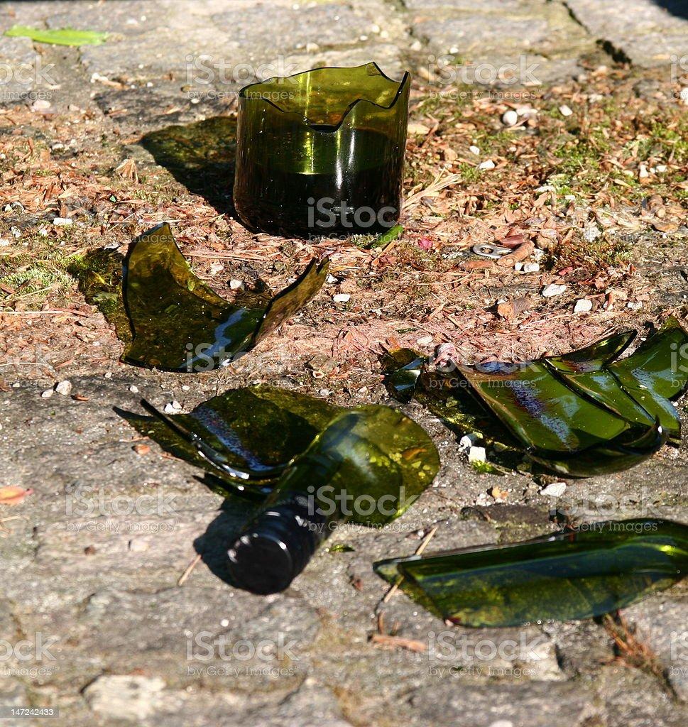 broken bottle of wine stock photo