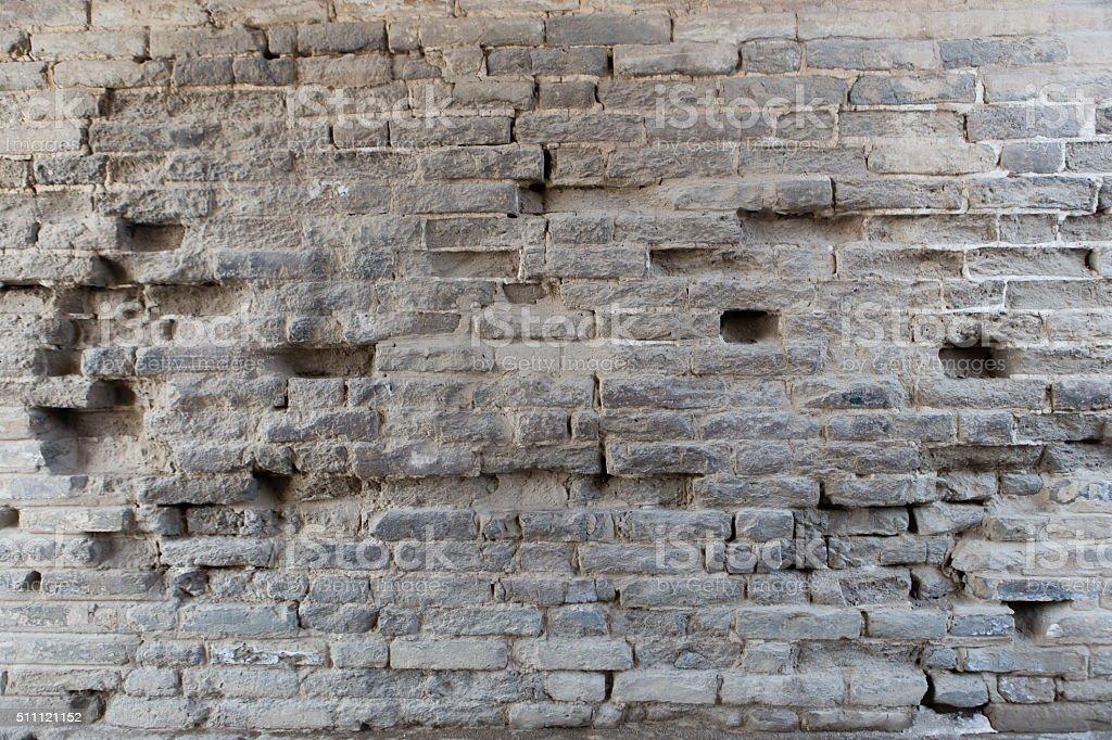 Broken brick wall stock photo