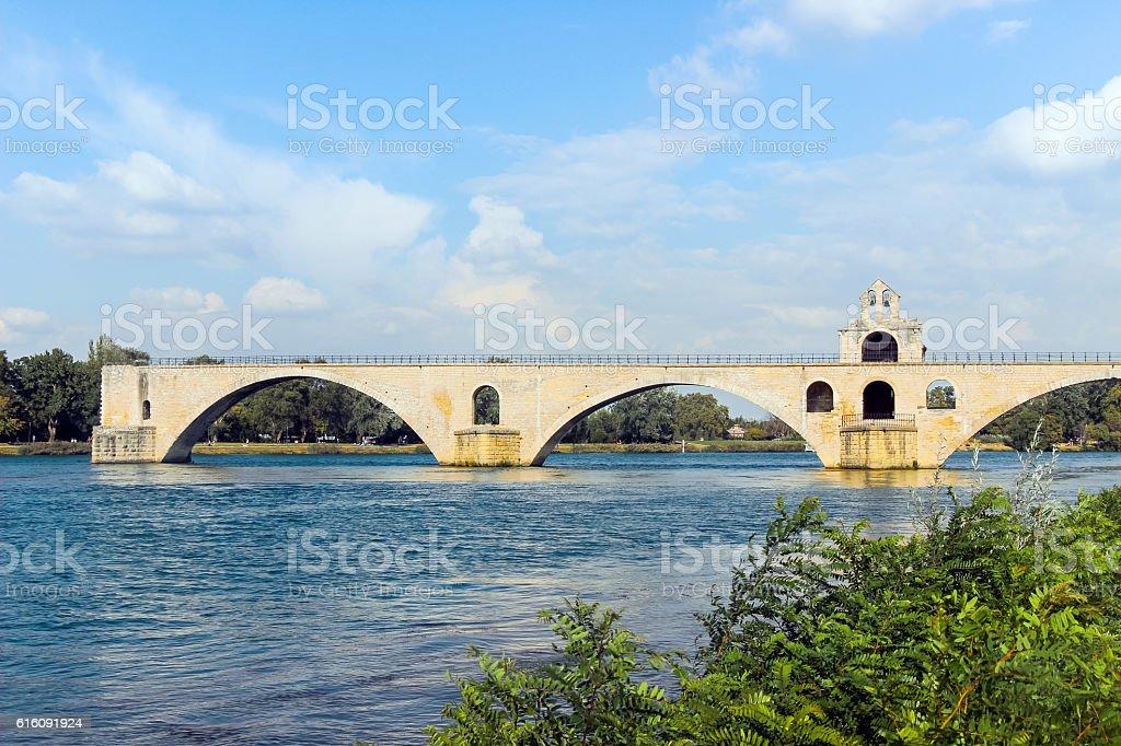 broken bridge in avignon stock photo
