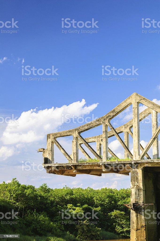 Broken bridge on cloud sky stock photo