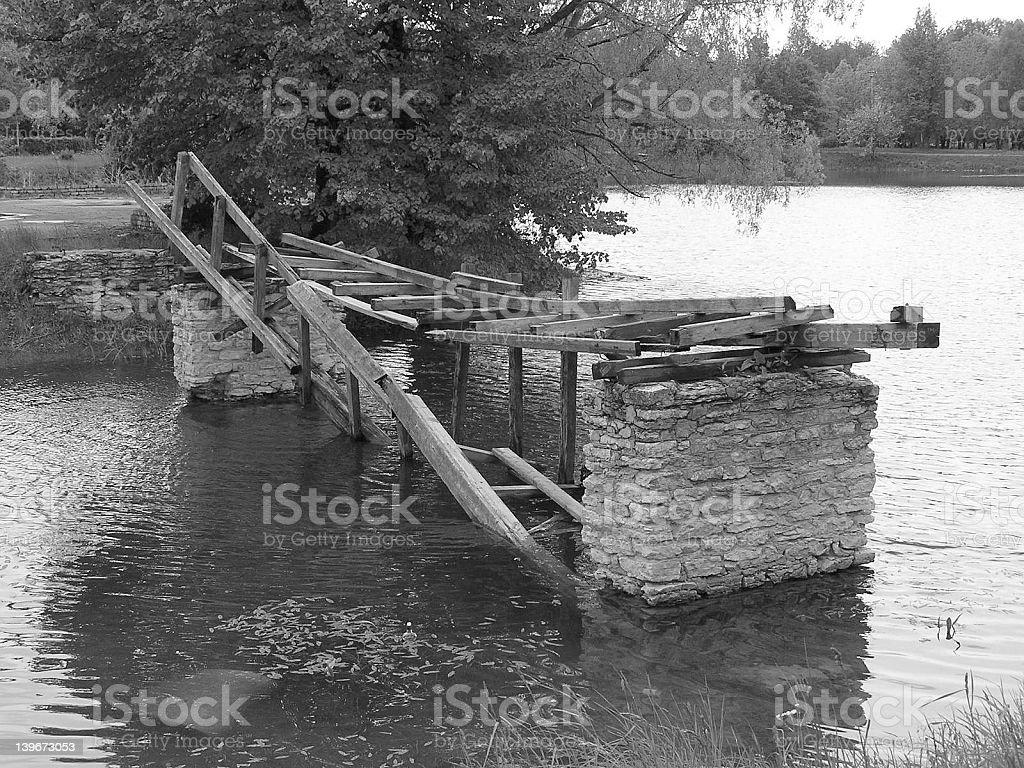 Broken bridge stock photo